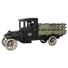 "1927-1928 Arcade 9"" Two-toned Ford Stake Body Truck"