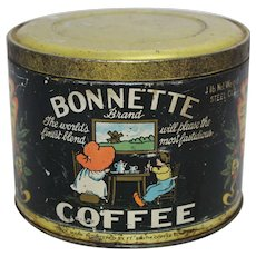 "Rare 1920's 'Bonnette"" Brand 1 lb. Coffee Tin"