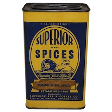 1943-1963 1 lb. Large Size Superior Spices 'Pumpkin Pie Spice' Litho Tin