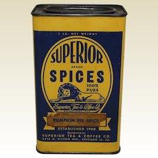 1943-1963 1 lb. Large Size Superior Spices 'Pumpkin Pie Spice' Litho Tin