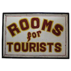 "1920-1950 Large Two Sided  ""Rooms For Tourists"" Wooden Sign"