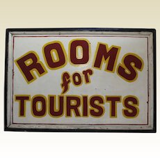 """1920-1950 Large Two Sided  """"Rooms For Tourists"""" Wooden Sign"""