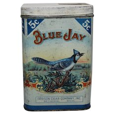 "Early 1900's ""Blue Jay"" 5 Cent Cigar Tobacco Litho Tin"