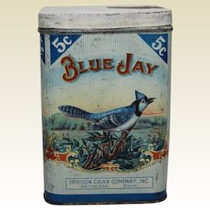 """Early 1900's """"Blue Jay"""" 5 Cent Cigar Tobacco Litho Tin"""