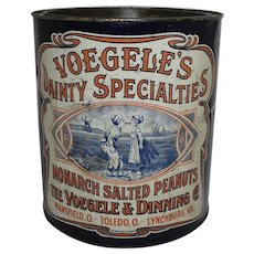 "Early 1900's ""Voegele's Dainty Specialties"" Large Salted Peanuts Tin"