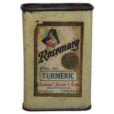 "Rare 1910-1938 ""Rosemary"" Brand Turmeric Tin Spice Container."