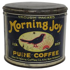 "Mid to late 1920's Key Wind ""Morning Joy"" Key Wind 1 lb. Litho Coffee tin"