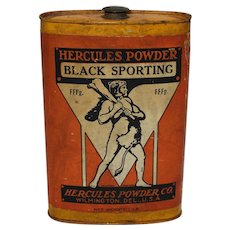 "1920-1930 ""Hercules (Gun) Powder"" 1 lb. Metal Flask"