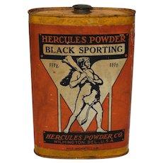 """1920-1930 """"Hercules (Gun) Powder"""" 1 lb. Metal Flask"""