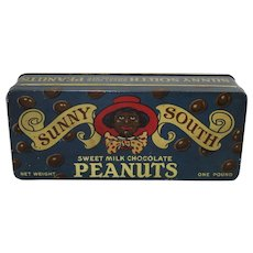"1930'S  1 lb. ""Sunny South Peanuts"" Black Memorabilia Litho Tin"