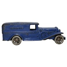 """Early 1930's  """"Champion"""" Cast Iron 7 3/4"""" Panel Delivery Truck"""