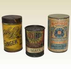 Three Assorted, Sultana, Justrite & Windsor Brand Early 1900's Spice Containers