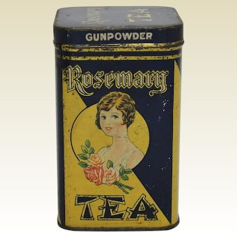 1920's, 30's 'Rosemary' Litho Tea Tin with Hinged Lid