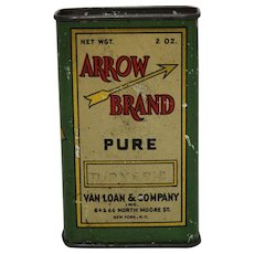 Early 1900's 'Arrow Brand' Litho Turmeric Spice Tin