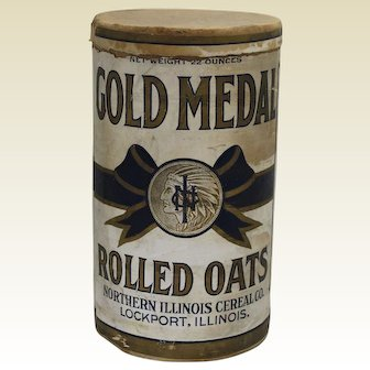 """1911-1945 """"Gold Medal"""" Rolled Oats Cardboard Container"""