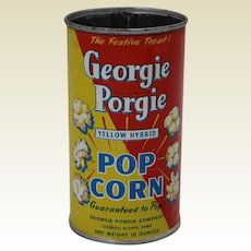 Rare 1928-1940 Iowa 'Georgie Porgie' Popcorn Advertising Tin