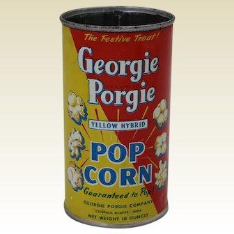 Rare 1928-1940 Iowa 'Georgie Porgie' Popcorn Advertising Tin