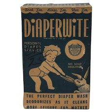 "Late 1930's to Early 1940's Unopened Box of 'Diaperwite"" Laundry Wash"