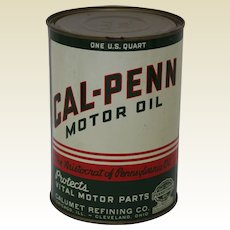 Rare Mid to Late 1930's Unopened One Quart Can of Cal-Penn Motor Oil