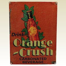 Rare-Late 1930's 'Orange Crush' Metal Advertising Sign