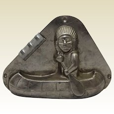 1927-1950  Dutch Vormenfabriek 'American Indian in Canoe' Chocolate Mold
