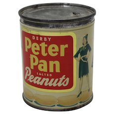 Pre-World War 2 'Derby Peter Pan Salted Peanuts' Key Wind Litho. Tin