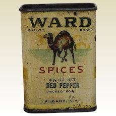 Early 1900's 'Ward Spices' Red Pepper Litho Spice Tin