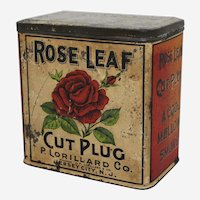 Rare Turn of Century 'Rose Leaf' Cut Plug Tobacco Tin