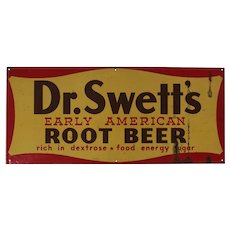 1942-1959 'Dr. Swett's Early American Root Beer' Metal  Advertising Sign