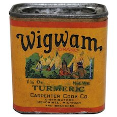 Early 1900's 'Wigwam Brand' Turmeric Spice Container