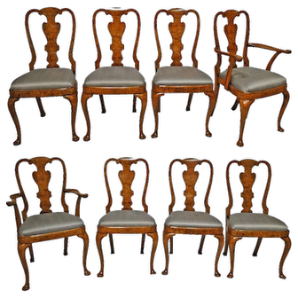 Antique Burled Elm Dining Chairs Set of 8