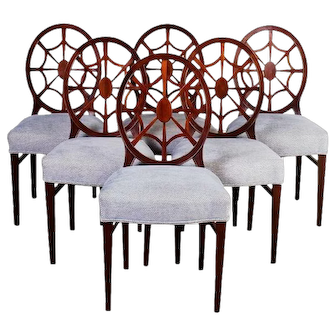 Antique Mahogany Spider Back set of 6 Dining Chairs