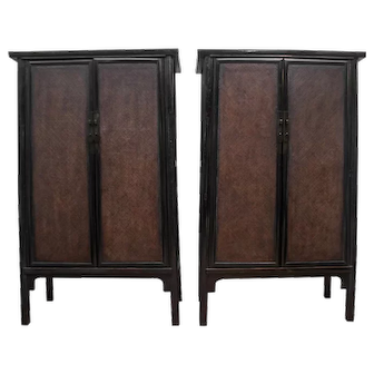Antique Pair of Large Black Lacquer Chinese Cabinets