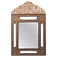 Antique Napoleon Mirror w/Brass Repousse