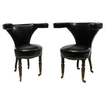 Antique Pair of English Cock Fighting Chairs