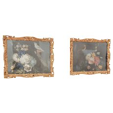 Antique Pair of Samuel Dixon Still Life with Birds and Flowers