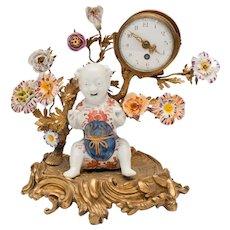 Antique Louis XVI Bronze/Porcelain Clock