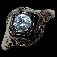 Appraisal $2500 Belais Brothers 18K White Gold Filigree Diamond Engagement Ring  Size 5.5