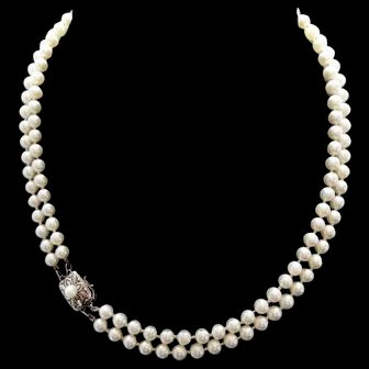 """Vintage Mikimoto Cultured Pearl Double Strand Necklace! 17"""" & 17.5"""""""