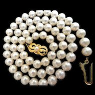 "Vintage 18K Mikimoto Necklace  18.25""; 6.5 – 6.0 mm Cultured Pearls!"