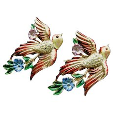 Coro Craft Sterling A. Katz Enamel Love Birds with Flowers! Fur Clips 1943