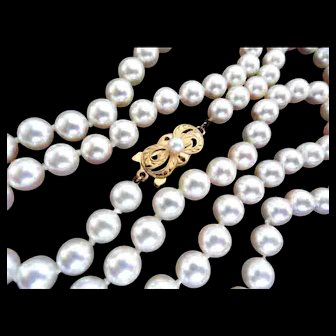 "Reduced!  Gorgeous MIKIMOTO Cultured Pearl Necklace 18K; 24"" Long; 6.5-6.0 mm!  Appraisal!"