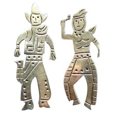 Taxco Sterling Cowboy & Indian Pin Set! TV-21 Vintage Retro!