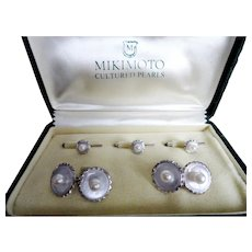 Early Mikimoto Etched Sterling Cuff Links & Button Tuxedo Set!