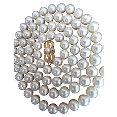 "Vintage 18K Mikimoto 22""  6.5 – 6.0 mm Cultured Pearls!  Hang Tag!"