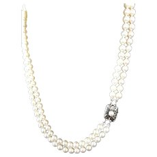 "Vintage Mikimoto Cultured Pearl Double Strand Necklace! 35.5"" Total Length!"
