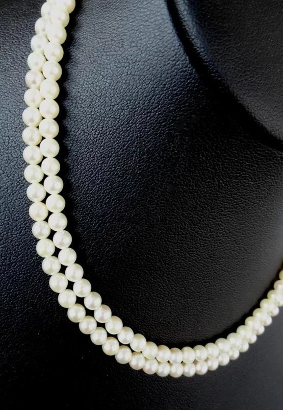 Vintage Mikimoto Cultured Pearl Double Strand Necklace 30