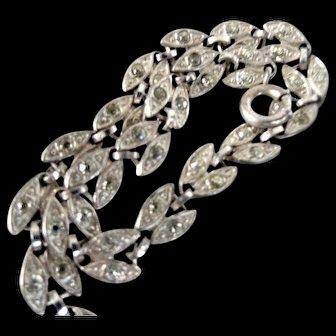 """1920s-30s Sterling Bracelet Paste Stones  7.25"""" long"""
