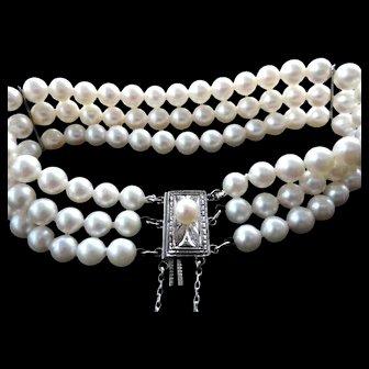 "Estate Mikimoto Cultured Pearl Triple Strand Bracelet  7.25"" Long!"
