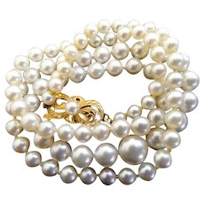 "Vintage 18K Mikimoto Cultured Pearls 18"" long with 7.5 - 4.0mm Pearls!"